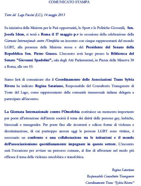 Comunicato Giornata Internazionale dell'Omofobia 2013